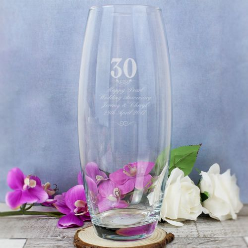 Personalised 30th Pearl Anniversary Glass Bullet Vase Gift Keepsake